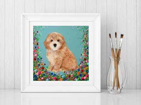 Jo Gough - Cockapoo with flowers Print From £10