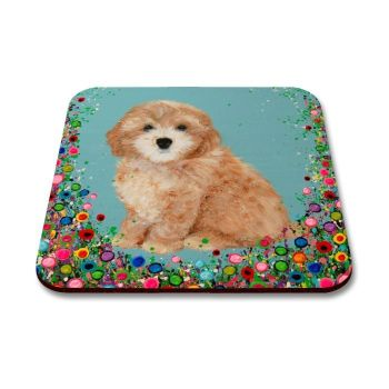 Jo Gough - Cockapoo with flowers Coaster