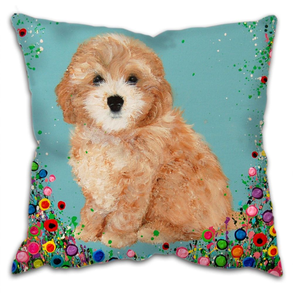 Jo Gough - Cockapoo with flowers Cushion