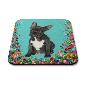 Jo Gough - French Bull Dog with flowers Coaster