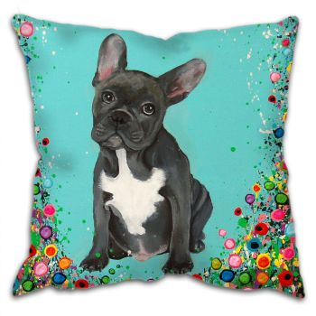 Jo Gough - French Bull Dog with flowers Cushion