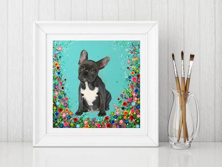 Jo Gough - French Bull Dog with flowers Print From £10
