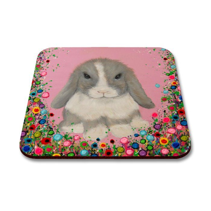 Jo Gough - Minilop Rabbit with flowers Coaster