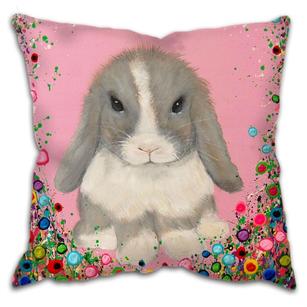 Jo Gough - Minilop Rabbit with flowers Cushion