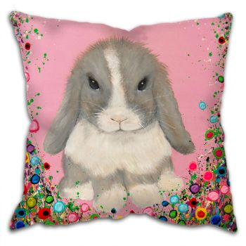Jo Gough - Minilop Rabbit with flowers Cushion