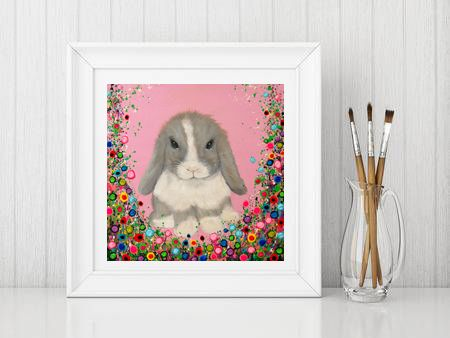Jo Gough - Minilop Rabbit with flowers Print From £10