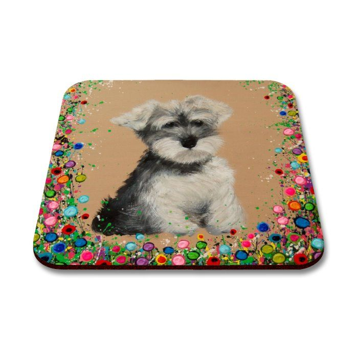 Jo Gough - Mini Schnauzer with flowers Coaster
