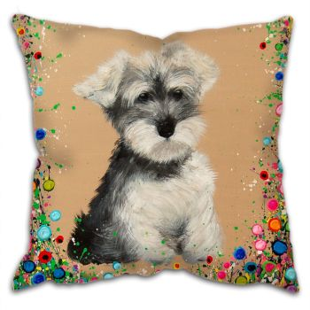 Jo Gough - Mini Schnauzer with flowers Cushion