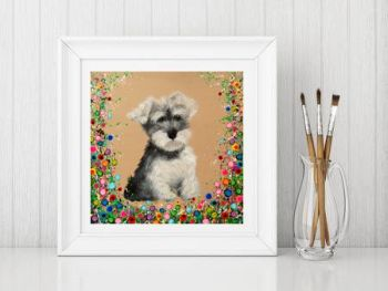 Jo Gough - Mini Schnauzer with flowers Print From £10