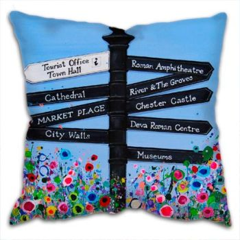 Jo Gough - Chester Finger Post with flowers Cushion