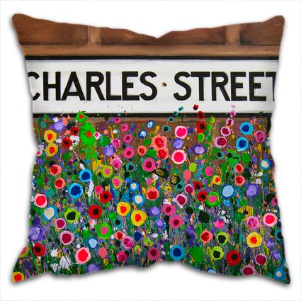 Jo Gough - Charles St Hoole Chester with flowers Cushion