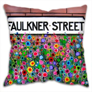 Jo Gough - Faulkner St Hoole Chester with flowers Cushion