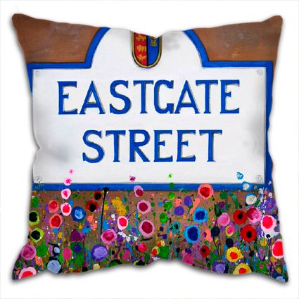 Jo Gough - Eastgate St Sign Chester with flowers Cushion