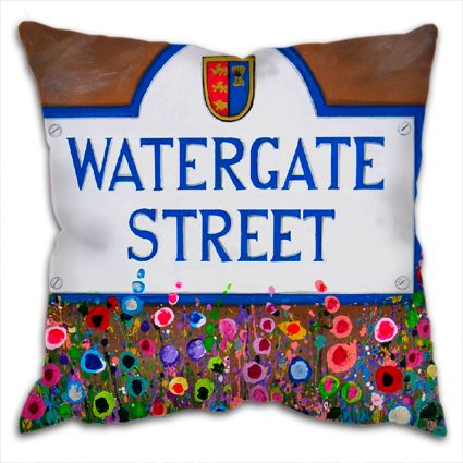Jo Gough - Watergate St Sign Chester with flowers Cushion