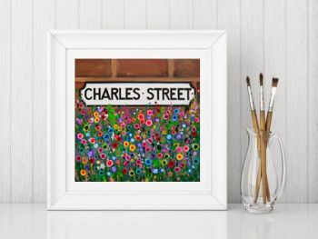 Jo Gough - Charles St Hoole Chester with flowers Print From £10