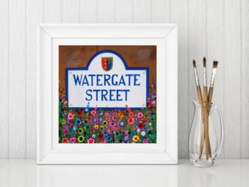 Jo Gough - Watergate St Chester with flowers Print From £10