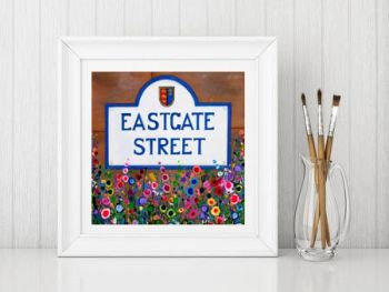 Jo Gough - Eastgate St Chester with flowers Print From £10