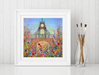 Jo Gough - Chester Clock with flowers Print From £10
