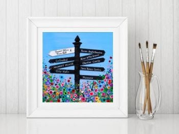Jo Gough - Chester Finger Post with flowers Print From £10