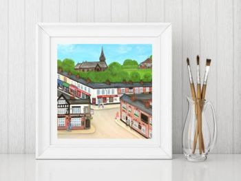 Jo Gough - Hoole High Street Chester with flowers Print From £10