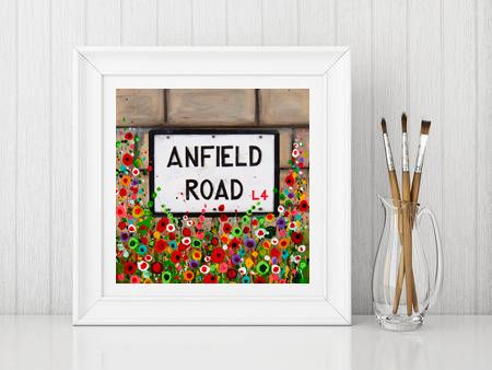 Jo Gough - LFC Anfield Rd Sign with flowers Print From £10
