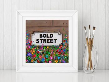Jo Gough - Bold St Sign Liverpool with flowers Print From £10