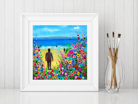 Jo Gough - Crosby Beach Iron Man with flowers Print From £10