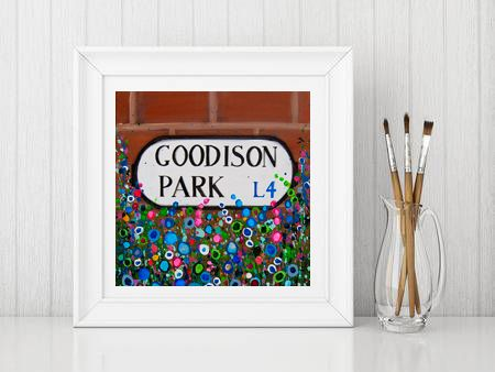 Jo Gough - EFC Goodison Park Sign with flowers Print From £10