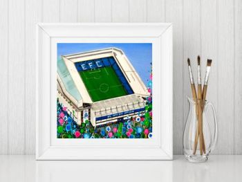 Jo Gough - EFC Stadium with flowers Print From £10