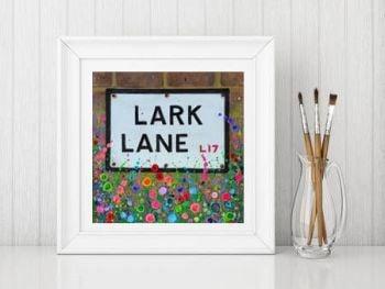 Jo Gough - Lark Lane St Sign with flowers Print From £10