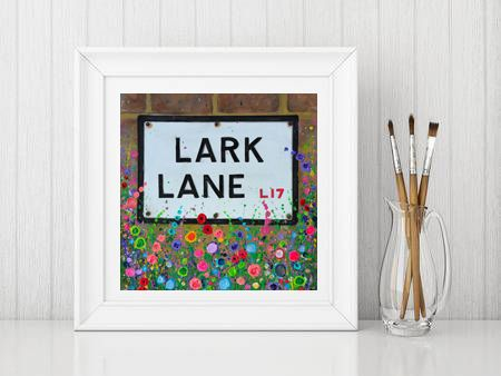 Jo Gough - Lark Lane St Sign with flowers Print From £10