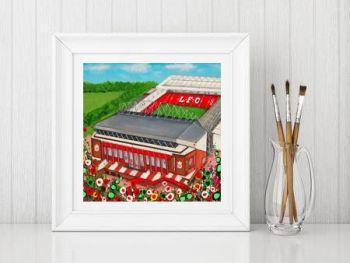 Jo Gough - LFC Stadium with flowers Print From £10