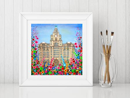 Jo Gough - Liver Building Liverpool with flowers Print From £10