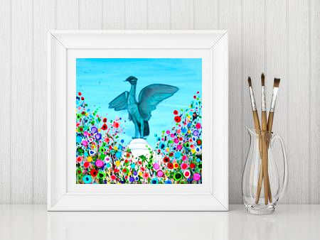 Jo Gough - Liverbird with flowers Print From £10