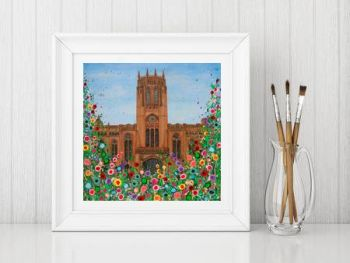 Jo Gough - Liverpool Anglican Cathedral with flowers Print From £10