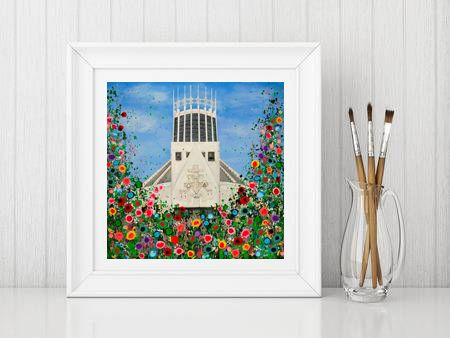 Jo Gough - Liverpool Metropolitan Cathedral with flowers Print From £10