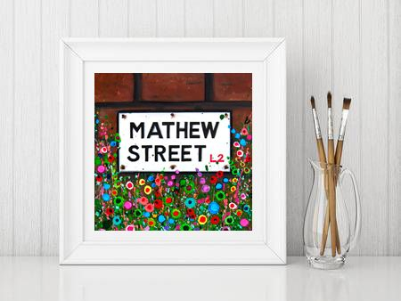 Jo Gough - Mathew St Sign with flowers Print From £10