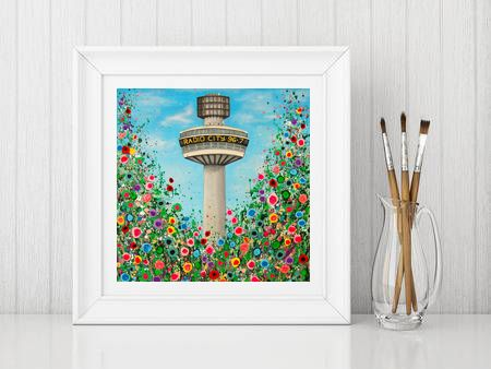 Jo Gough - Radio City Tower with flowers Print From £10