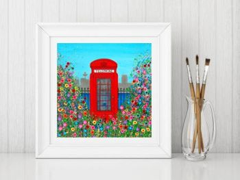 Jo Gough - Red Telephone Box with flowers Print From £10