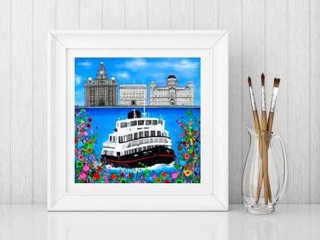 Jo Gough - The 3 Graces Liverpool with flowers Print From £10