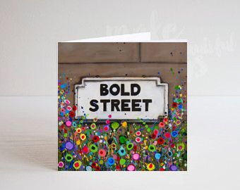 Jo Gough - Bold St Sign Liverpool with flowers Greeting Card