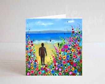 Jo Gough - Crosby Beach Iron Men with flowers Greeting Card