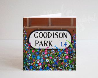 Jo Gough - EFC Goodison Park Sign with flowers Greeting Card