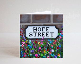 Jo Gough - Hope St Sign Liverpool with flowers Greeting Card