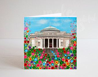 Jo Gough - Lady Lever Art Gallery with flowers Greeting Card