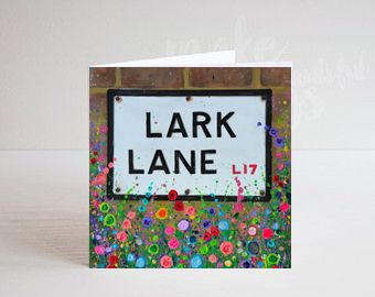 Jo Gough - Lark Lane Sign Liverpool with flowers Greeting Card