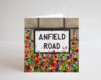 Jo Gough - LFC Anfield Rd Sign with flowers Greeting Card