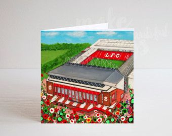 Jo Gough - LFC Stadium with flowers Greeting Card