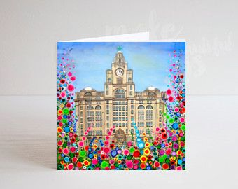 Jo Gough - Liver Building Liverpool with flowers Greeting Card