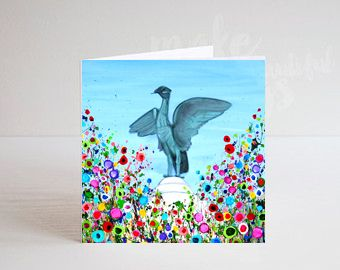 Jo Gough - Liverbird Liverpool with flowers Greeting Card